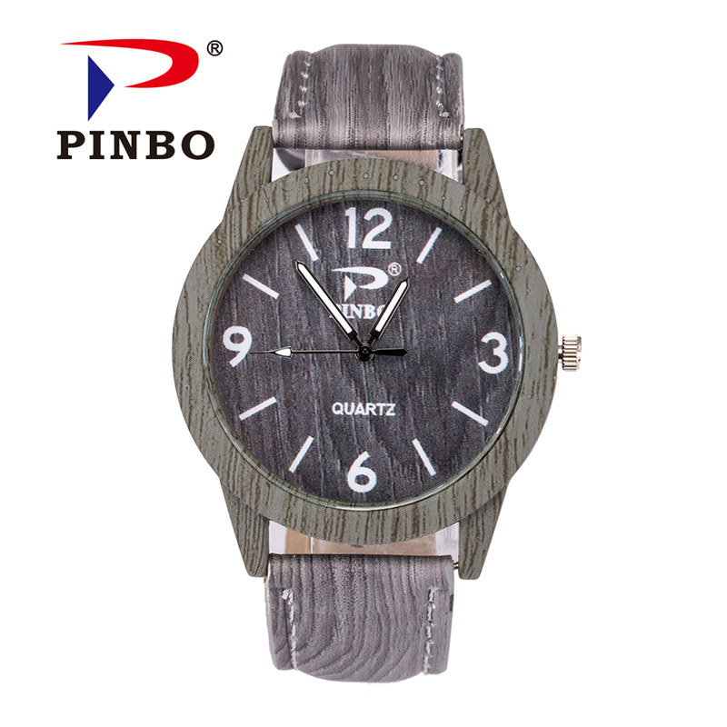 New Famous Brand PINBO Vintage Casual Quartz Watch Women Leather Wood Grain Analog Dress Watches Relogio Feminino Clock Hot Sale new lvpai vintage women fashion quartz watch faux leather men dress watch unisex casual wristwatches wood grain watches clock