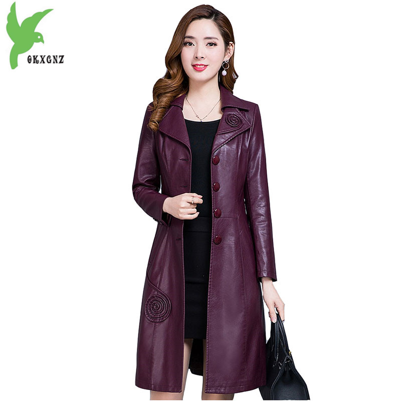 Leather   Trench Coat Women 2018 Spring and Autumn PU   Leather   Coat Slim Female Plus size Windbreaker Medium length Outerwear 2113