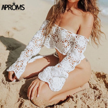 Aproms Sexy Off Shoulder Knitted Crochet Blouse Shirt Women Flare Sleeve White Crop Tops Summer Beach Bikini Coverup Blusas 2019