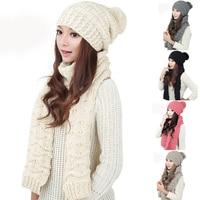 Kobiety Kapelusz Koreański Pani Dzikie Wełny Szalik Kapelusz Zestaw Mody gorąca Sprzedaż Wysokiej Jakości Jesień I Zima Nowy Miękkie I wygodne