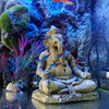 Artificial Elephant Head Buddha Decoration Aquarium Fish Tank Sitting Buddha Statue Crafts Aquarium Stone Rock For