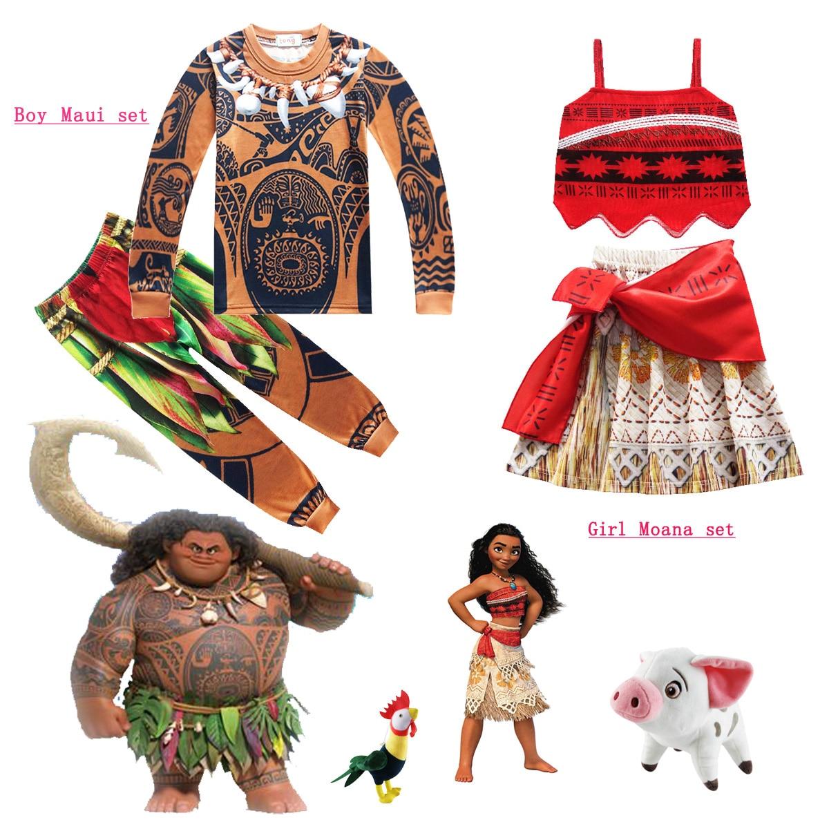 Kids Children Cosplay Anime Moive Moana Maui Tattoo Shirt Pants Costume Gifts