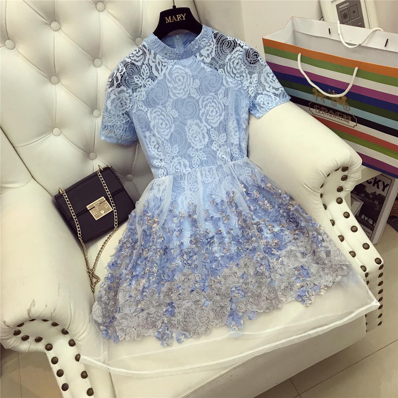 2018 New Oganza Fairy Vintage Lace Dress Women Turtleneck Perspective Three-dimensional Flower Mini Dress Students Blue Vestidos