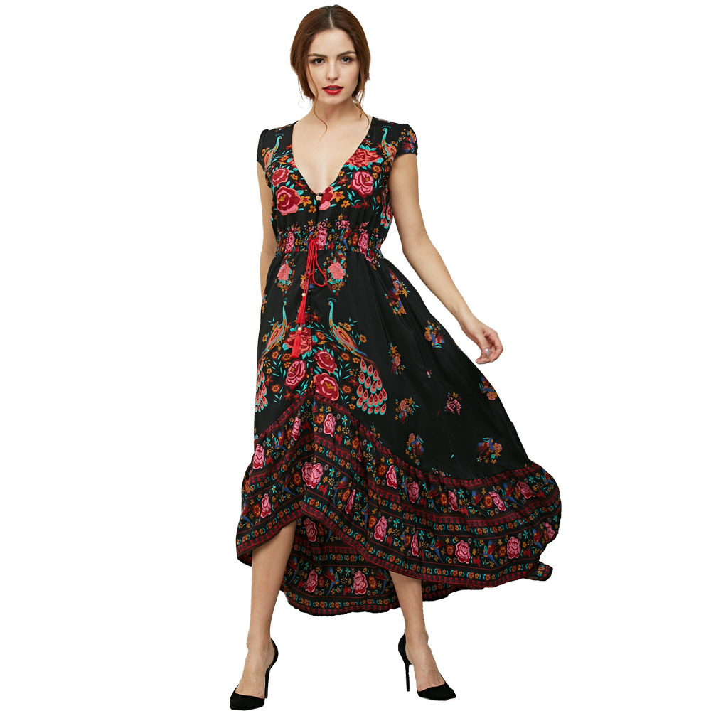 2017 Summer Vintage Ethnic Print Dress Deep V-neck Sexy Maxi Beach Dress Rose Print Retro Bohemian Hippie Dress Boho Robe