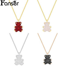FANSER Teddy 3D Pendant Necklace SWAROSK 100% 925 Sterling Silver Original Copy Has Logo Ladies Beaded Jewelry Free Shipping