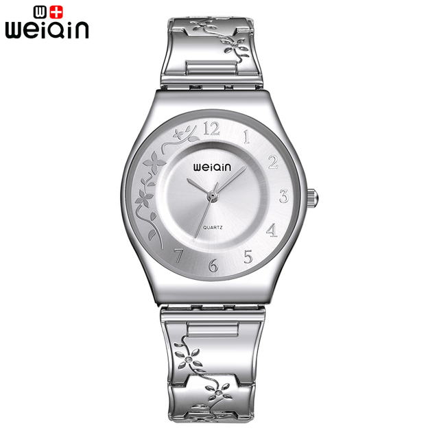 WEIQIN Fashion Silver Women Watches 2017 High Quality Ultra thin Quartz Watch Woman Elegant Dress Ladies Watch Montre Femme