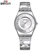WEIQIN Mode Zilveren Vrouwen Horloges 2017 Hoge Kwaliteit Ultra dunne Quartz Horloge Vrouw Elegante Jurk Dames Horloge Montre Femme