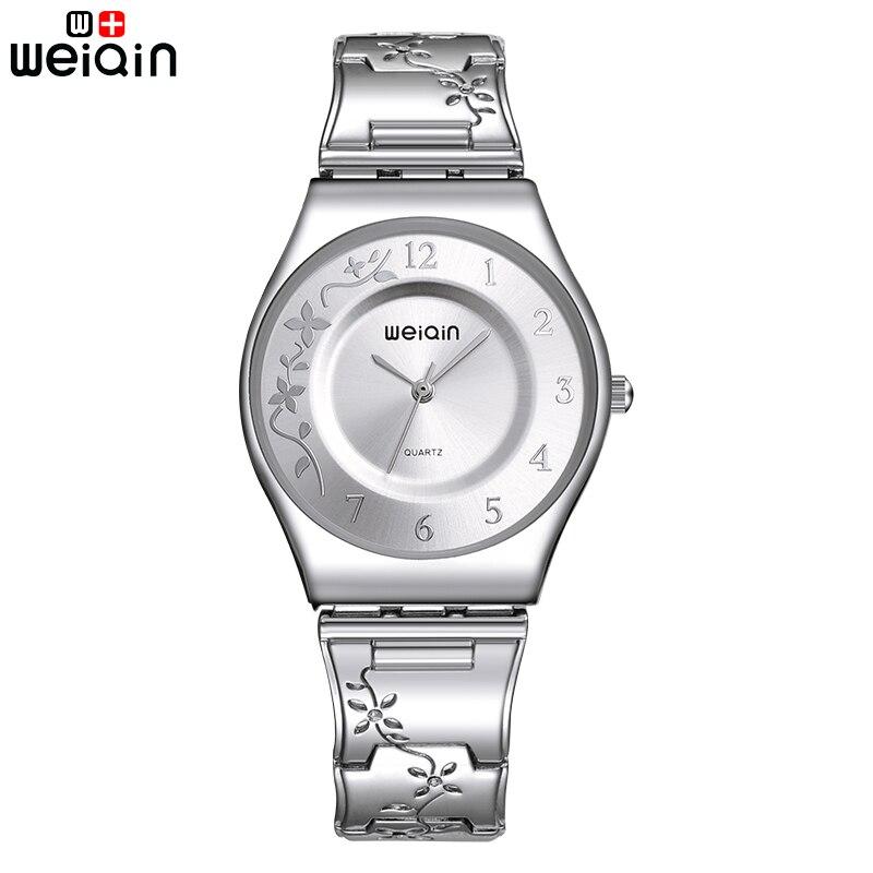 WEIQIN Relojes de Las Mujeres de Plata de La Manera 2017 de la Alta Calidad Ultra delgado Reloj de Cuarzo de la Mujer Elegante Vestido de Las Señoras Reloj Montre Femme