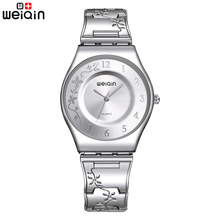 WEIQIN Silver Women Watches Luxury High Quality Water Resistant Montre Femme Stainless Steel 2016 Dress Woman Wrist Watches