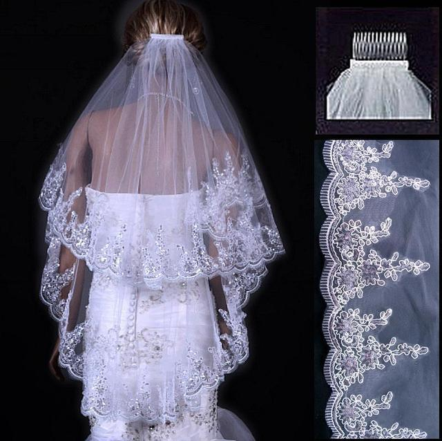 2016 Wedding Accessories Bridal Veil Two Layers White Ivory Comb Accesories Paillette Edge