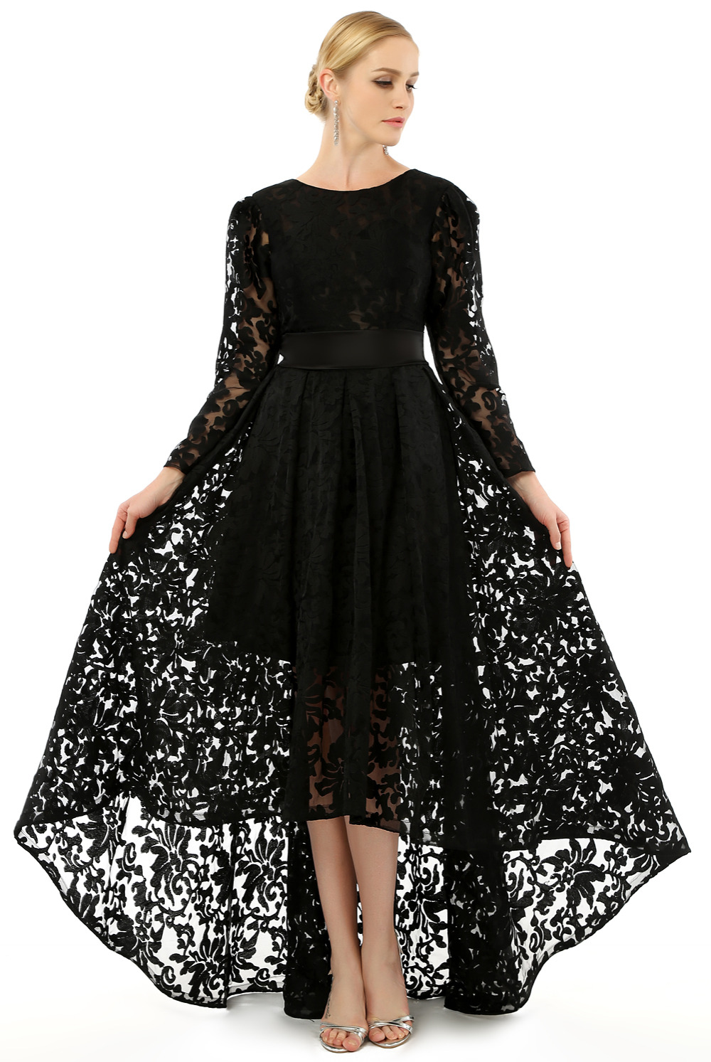 Short Black Lace Long Dress with Sleeves