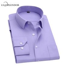 Long Sleeve Slim Men Dress Shirt 2018 Brand New Fashion Designer High Quality Solid Male Clothing