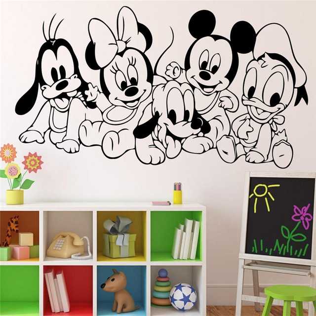 Cartoon Baby Characters Mickey Mouse Vinyl Sticker Wall Art Decor ...