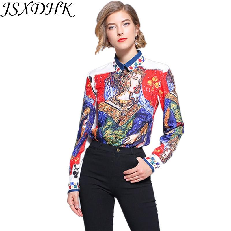 Impreso Oficina Ol Larga Jsxdhk Manga Diseñador Down Rojo Moda 2018 Blusa Casual Collar Otoño Turn Mujer Camisa Runway Fq0wq16Cx