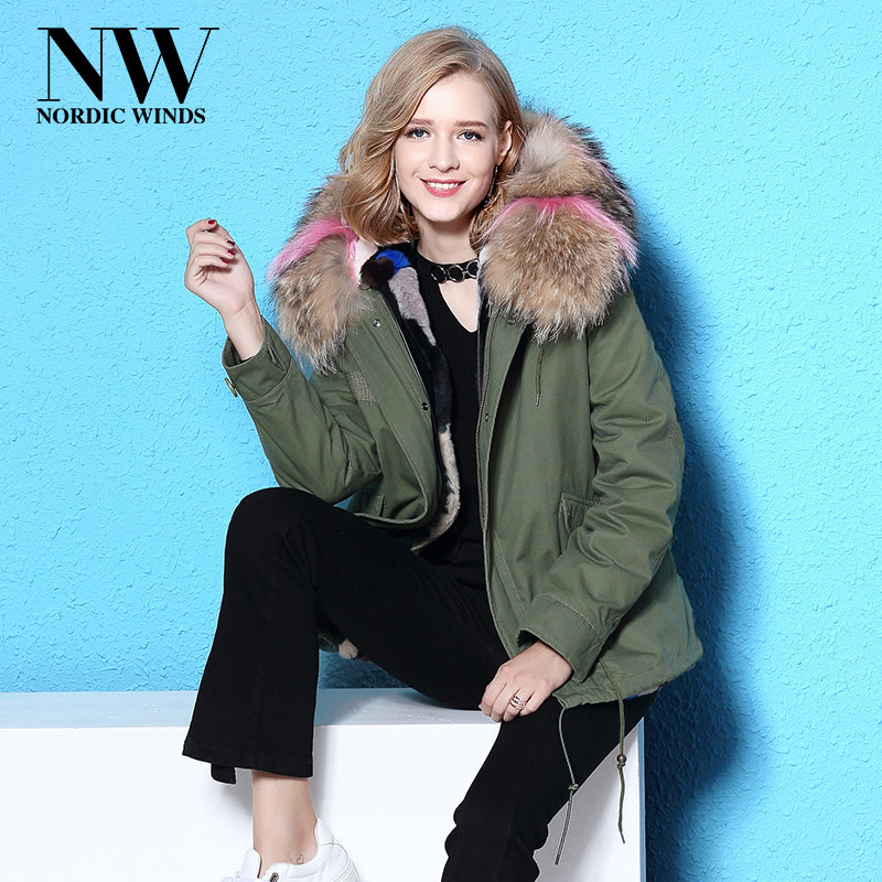 Nordic Winds Parka Womens Winter Jacket Rabbit Fur Lining Large Real Raccoon Fur Collar Coats Warm Hooded Parkas Thick Outerwear red stripe fur inside male coats winter wear keen warm elegant real raccoon fur collar cashmere fur parka