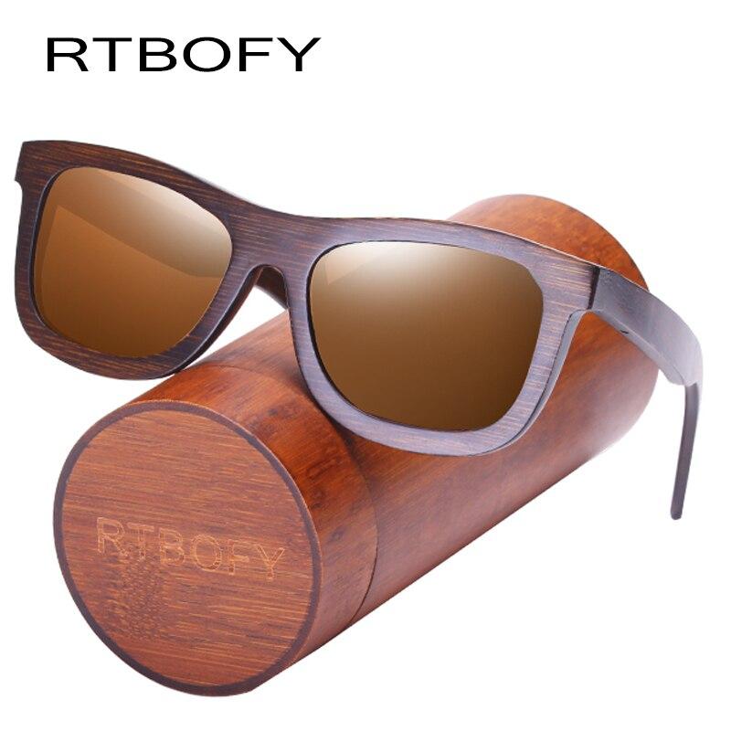 RTBOFY Bois lunettes de Soleil pour Hommes et Femmes Verres Polarisés Lunettes de Bambou Cadre Eyeglasse Vintage Design Shades UV400 Protection