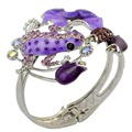 Turkish Bridal Cuff Bangle Silver Plated Rhinestone Flower Fashion National Style Enamel Glaze Frog Opened Bracelet for Women