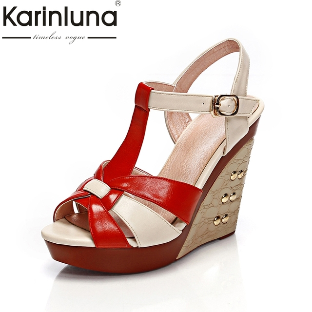 KARINLUNA 2018 best quality brand design shoes women fashion trendy wedge  high heels summer sandals woman 4fa8d9918423