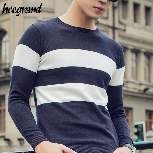 HEE GRAND Men's Pullovers 2017 New Arrival Men Fashion Striped Sweater Male Casual O-Neck Easy Match Pullover MZL737