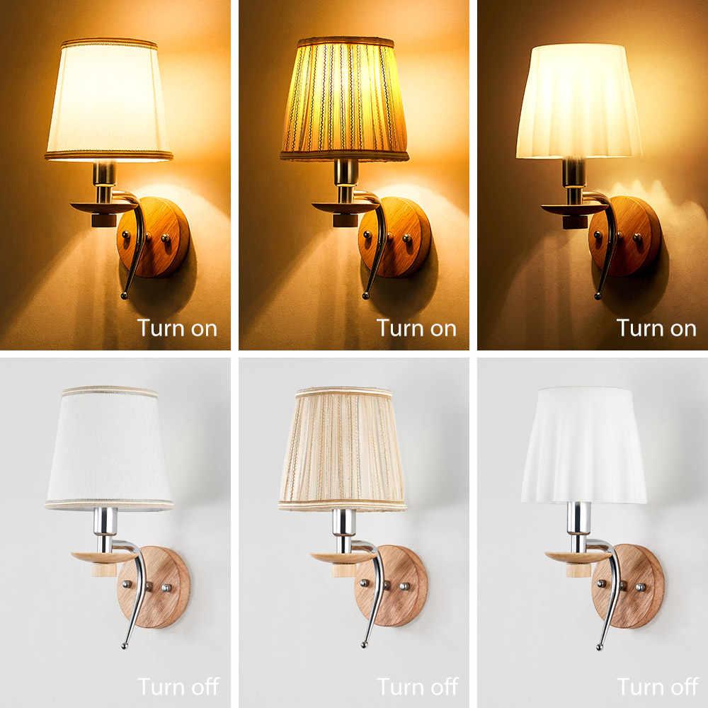 Светодиодный настенный светильник E14 Ламповые светильники Деревянный алюминиевый свет для чтения ткань стеклянный настенный канделябр гостиная Внутреннее освещение для спальни