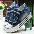 Женская Обувь зашнуровать Высота увеличение повседневная обувь холст женщины Hook & Loop платформы джинсовой ткани женщин обувь 6c169