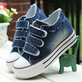 Women Shoes lace up Height increasing casual canvas shoes women Hook&Loop  platform women denim shoes 6c169