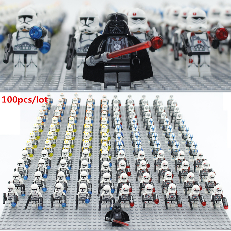 100pcs/lot Building block figures starwarsIII no baseplate Educational Anime Compatible With Legoe Baseplate for gift