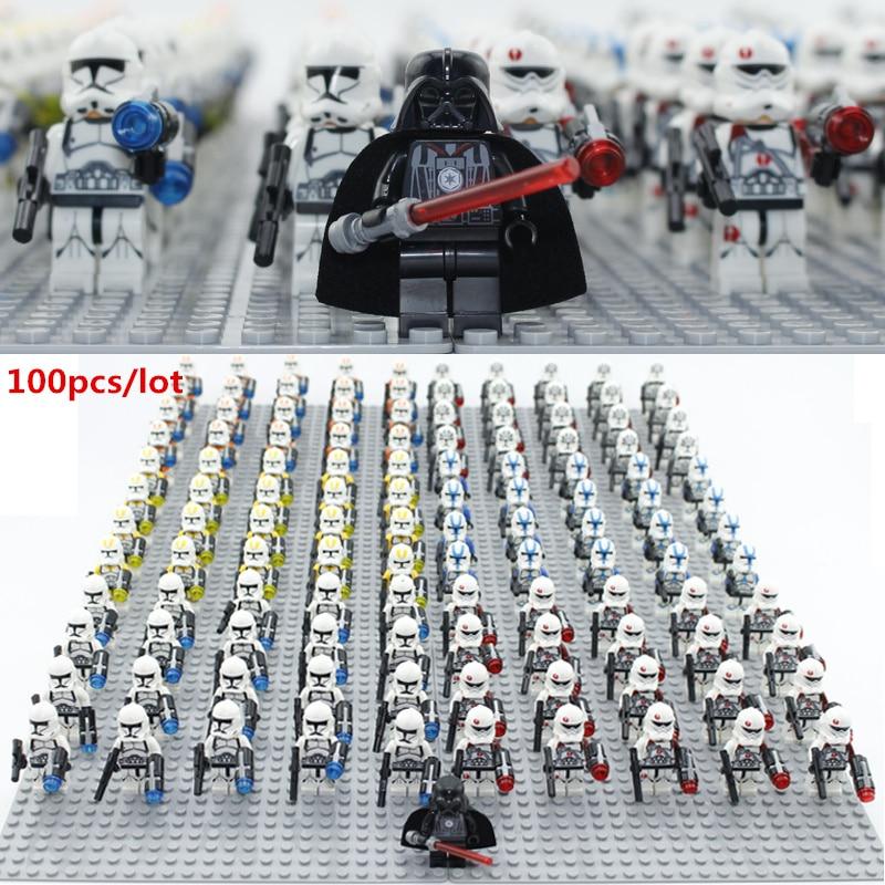 все цены на 100pcs/lot Building block figures starwarsIII no baseplate Educational Anime Compatible With Legoe Baseplate for gift онлайн