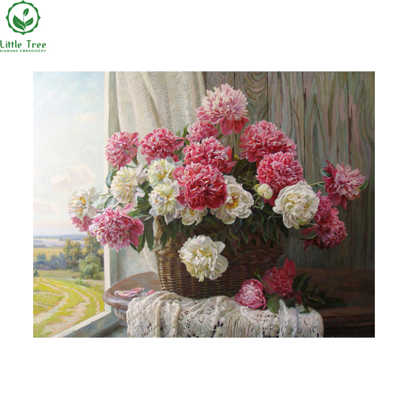 DIY Diamond Embroidery White And Red Flowers Painting Rhinestones In Setting For Cross Stitch Modern Style Home Decoration