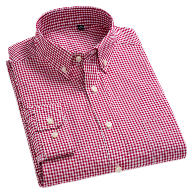 New Arrival Men's Oxford Wash and Wear Plaid Shirts 100% Cotton Casual Shirts High Quality Fashion Design Men's Dress Shirts(China)
