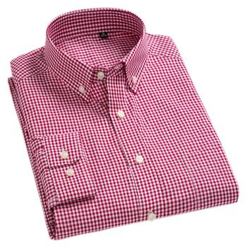 New Arrival męska Oxford umyć i nosić koszule w szkocką kratę 100 bawełniane koszule na co dzień wysokiej jakości projektowanie mody męskie ubranie koszule tanie i dobre opinie MACROSEA Pełna COTTON Plaid Pojedyncze piersi Skręcić w dół kołnierz Smart Casual REGULAR plaid shirt striped shirt