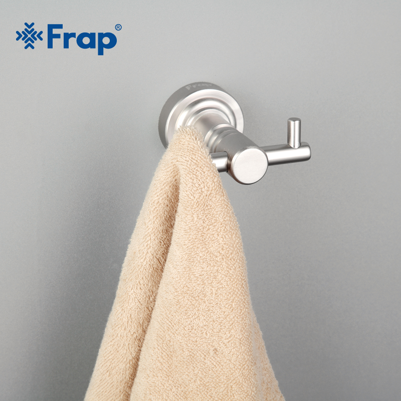 Frap New Arrival Silver Color Robe Hook Wall Mounted Towel Holder Bathroom Accessories Clothes Double Hook F3705 wall mounted hook