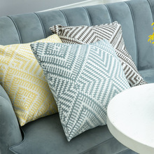 2019 Geometric Square Pillow Case Home Decorative Top Quality Jacquard Cover 1Pc Warm Hidden Zipper Cushion 45X45Cm
