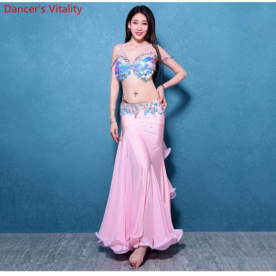 High Quality Dance Stage Wear Cheap Ballroom Belly Dance Costume Set For Women Sequins Belly Dance Costumes