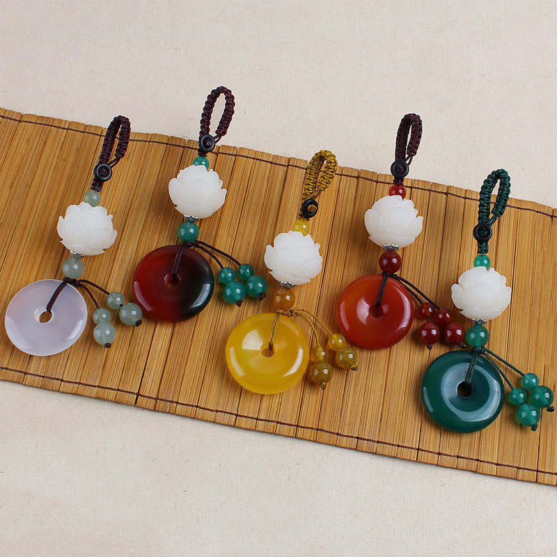 WEIYU Natural Agates Stone Round Pendant Handmade Carved Lotus Keychains Key Ring Key Holder For Women Car Bags Accessories