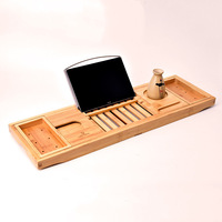 10pcs/lot Creative Bamboo Bathtub Tray with Extending Sides Reading Rack Tablet Holder Cellphone Tray and Wine Glass Holder