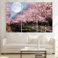 Çerçevesiz 3 Parça Ev Dekor Tuval Sanat Cherry Blossom Baskılı Yağlıboya Oturma Odası için Ücretsiz Nakliye Duvar sanat resimleri