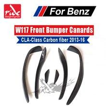 For Mercedes-Benz W117 Front Bumper CLA Class CLA180 CLA200 CLA250 CLA45 Gloss Carbon Fiber Splitter Canard 2013-16