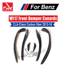For Mercedes-Benz W117 Front Bumper CLA Class CLA180 CLA200 CLA250 CLA45 Gloss Carbon Fiber Front Bumper Splitter Canard 2013-16 цена и фото