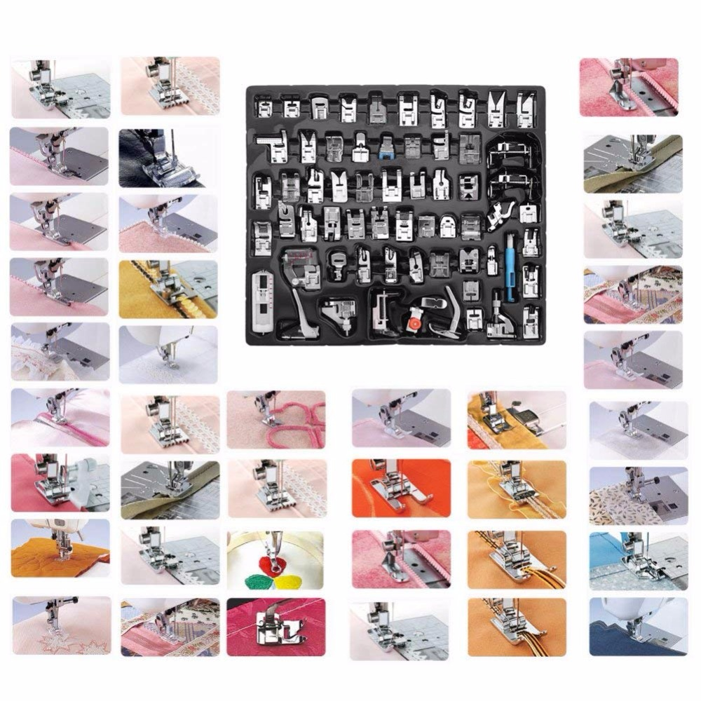 62 pièces multi-fonctionnelle Machine à coudre domestique presseur pieds ensemble accessoires outil pour frère, Babylock, chanteur, Janome, Elna, Toyota