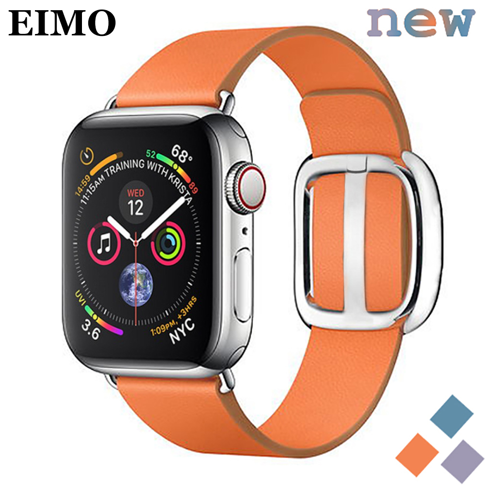 EIMO Leather strap For Apple Watch band 4 3 iwatch band 42mm/38mm 44mm/40mm correa Modern bracelet belt watch Accessories 21EIMO Leather strap For Apple Watch band 4 3 iwatch band 42mm/38mm 44mm/40mm correa Modern bracelet belt watch Accessories 21