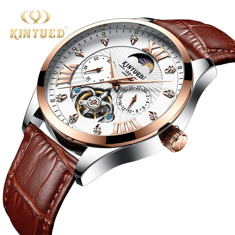 KINYUED лучший бренд класса люкс алмаз автоматические часы для мужчин механические скелет наручные часы Хронограф КОЖА Moon Phase Arm horloge