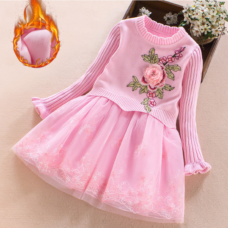Girl dress High Quality 2017 New Year Party flower Christmas Dress for Girls clothes Long sleeves Sweater Lace Princess 3 4 6 9T korean version of the girls winter velvet dress children s lace dress princess dress new child dress age from 3 9t