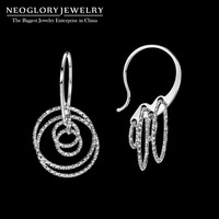 Neoglory Sterling 925 Silver Shiny Charm Dangle Drop Earrings for Women Bridal Fashion Gift Jewelry 2018 New Fashion Brand