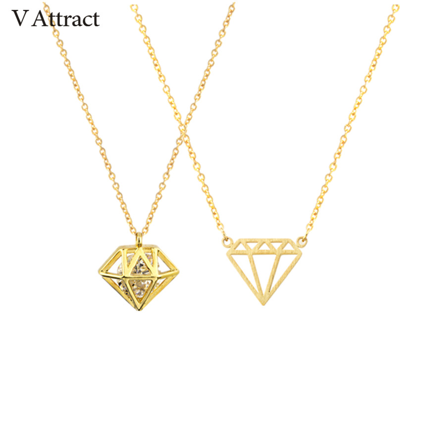 V Attract 2018 High end CZ Cone Brilliant Statement Necklace For Women Vintage Jewelry Stainless Steel Chain Maxi Choker Femme|statement necklace|necklaces for women|necklace necklace - AliExpress