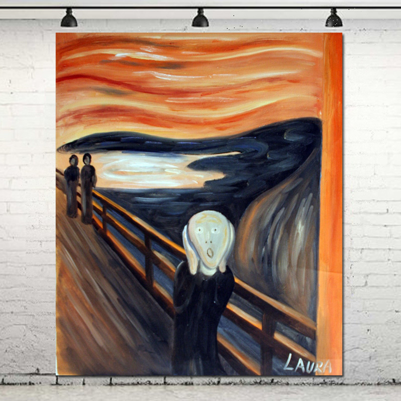 Museum Quality Hand Painted Famous Art Painting Reproduction Munch The Scream Canvas Oil Painting Living Room Home Wall Decor