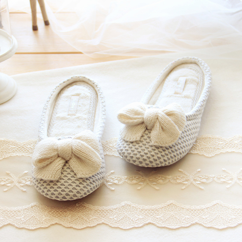 Bow Knitted Love Design Women Soft Winter Jacquard Home Slippers Indoor Shoes