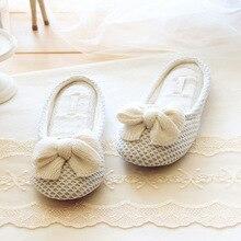 Bogen Gestrickt Design Frauen Weiche Winter Jacquard Hause Hausschuhe Schuhe