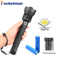Powerful 40000LM LED Flashlight Torch USB Rechargeable Flashlight XHP70 40W zoomable Tactical defense flashligh For Camping
