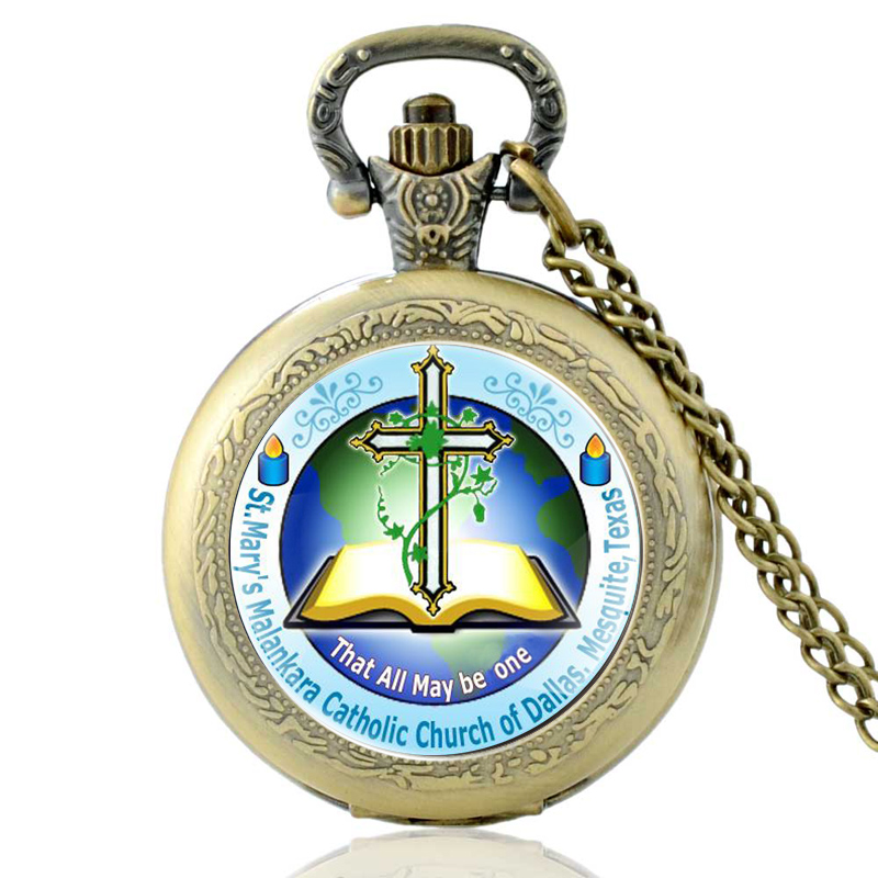 Vintage Bronze Catholic Church Cross Bible Quartz Pocket Watch Classic Men Women That All May Be One Pendant Necklace Gift